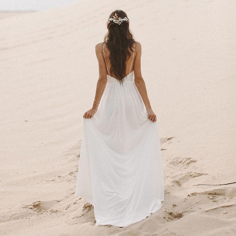 MYYBLE Beach Vestito Da Cerimonia Nuziale Della Cinghia di Spaghetti Boho Scollo A V Aperto Indietro abiti da sposa 2020 Chiffon di Alta Split superiore Del Merletto di Cerimonia Nuziale abito