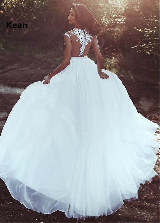 Chiffon Abito Da Sposa Del Manicotto Della Protezione di Applique Fessura Illusion vestido De Noiva Dubai Arabo Abito Da Sposa Vestito Da Sposa Robe De Mariee