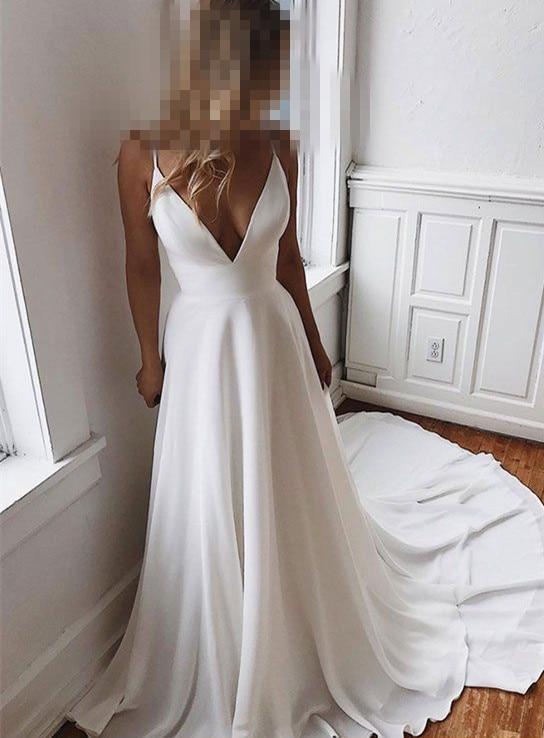Semplice E Affascinante con Scollo a V Scollatura Abito da Sposa con Pizzo Indietro Abito da Sposa Vestido De Festa De Casamento