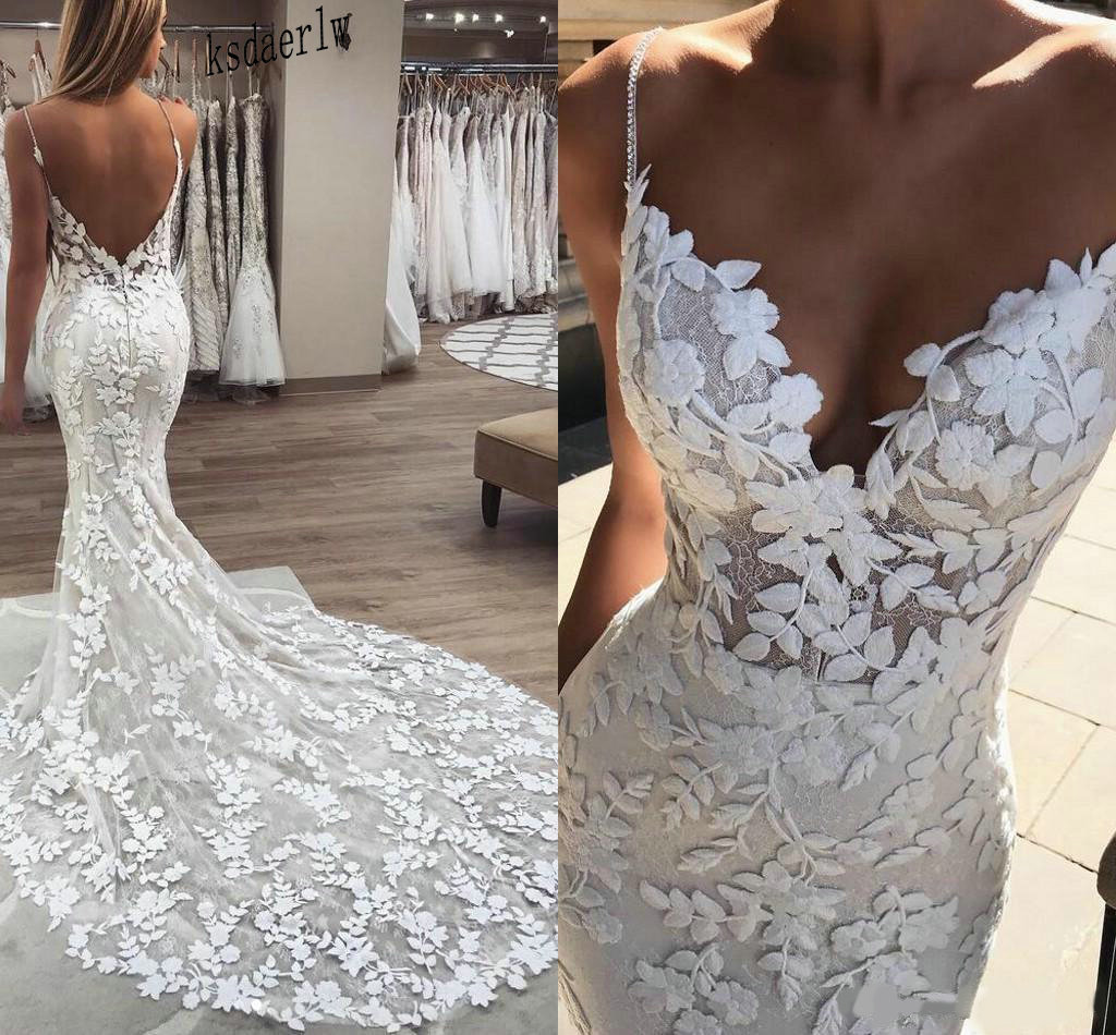 2020 Mermaid Abiti da Sposa 3D Floreale Applique Del Merletto Backless Spazzata di Tulle Del Treno Plus Size Boho Beach Abiti da Sposa Robe De