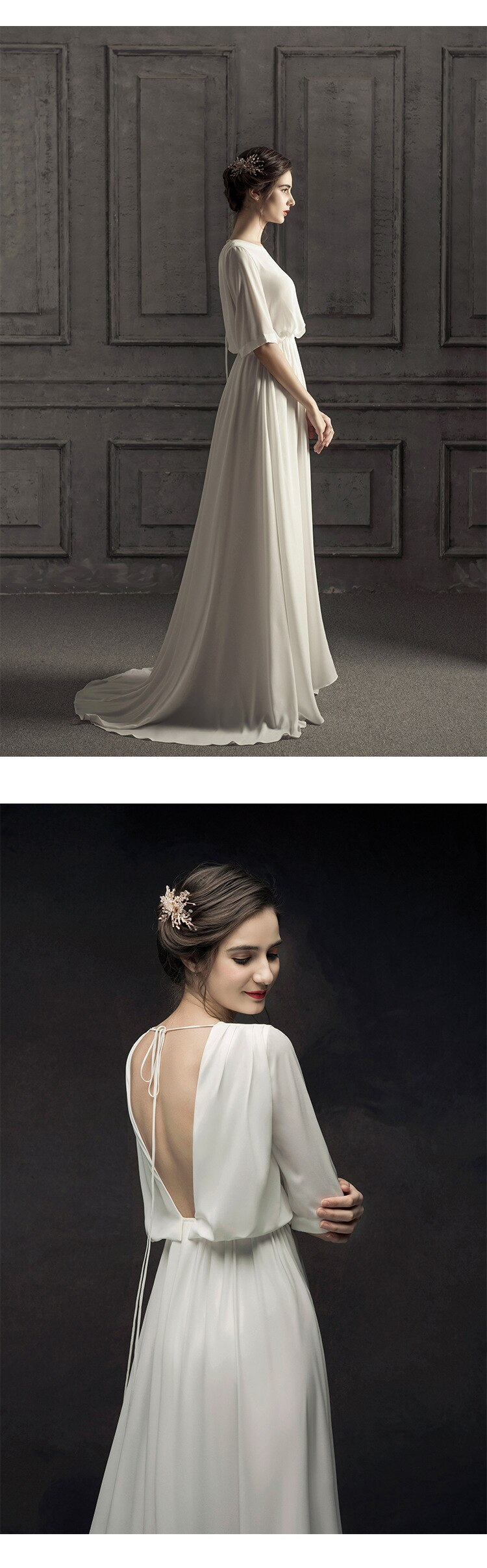 Francese Minimalista Abito Da Sposa 2019 Sposa Backless Vestido De Novia Boho Vestito Da Cerimonia Nuziale Arabo abito da sposa sexy