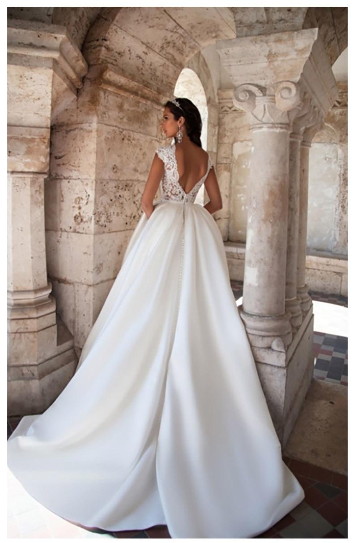 LORIE Vestito Da Cerimonia Nuziale Della Principessa Maniche Corte Elegante Appliqued Una Linea di Abiti Da Sposa Con Tasche Boho Abito Da Sposa 2019