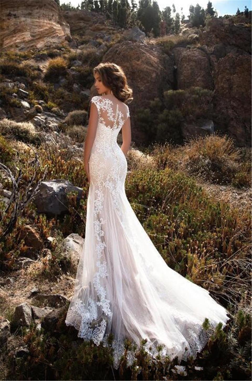 Senza maniche Spalla del Doppio Collo Appliqued Pizzo Abiti Da Sposa 2018 Della Sirena/Tromba Treno Illusion abito da sposa abito Bianco
