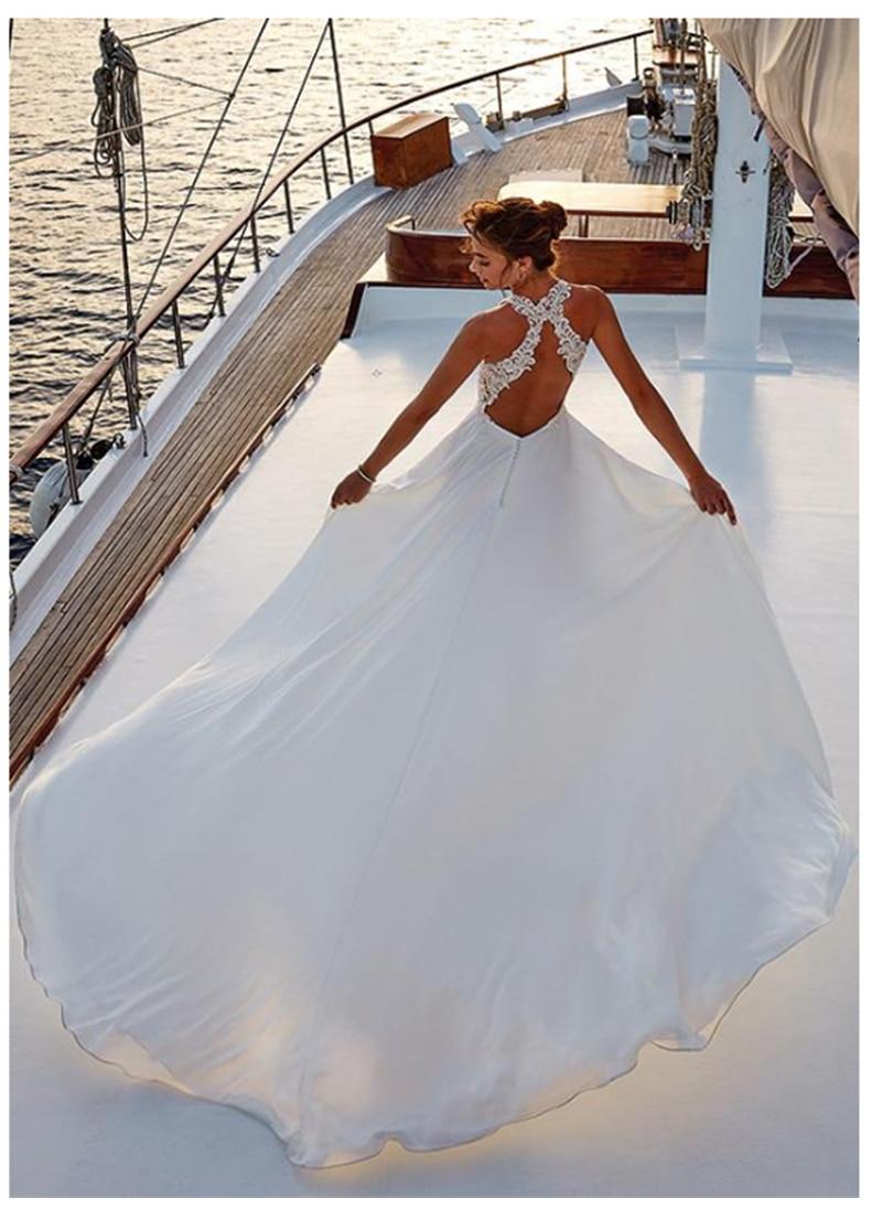 LORIE Boho Abito Da Sposa Halter Del Collo Del Merletto Appliques Chiffon Abito Da Sposa Side Split Abito Da Sposa 2019