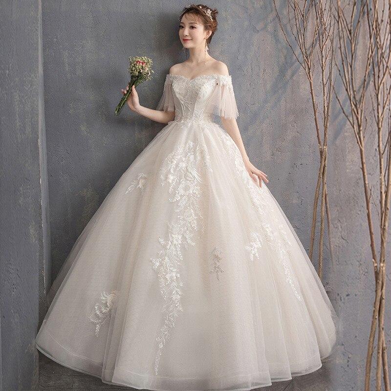 Abito da sposa In Pizzo Sweep Treno Scollo A Barca Pavimento-Lunghezza Lungo Borgogna Vestito per la Cerimonia Nuziale Abiti Da Sposa Vestido De Noiva