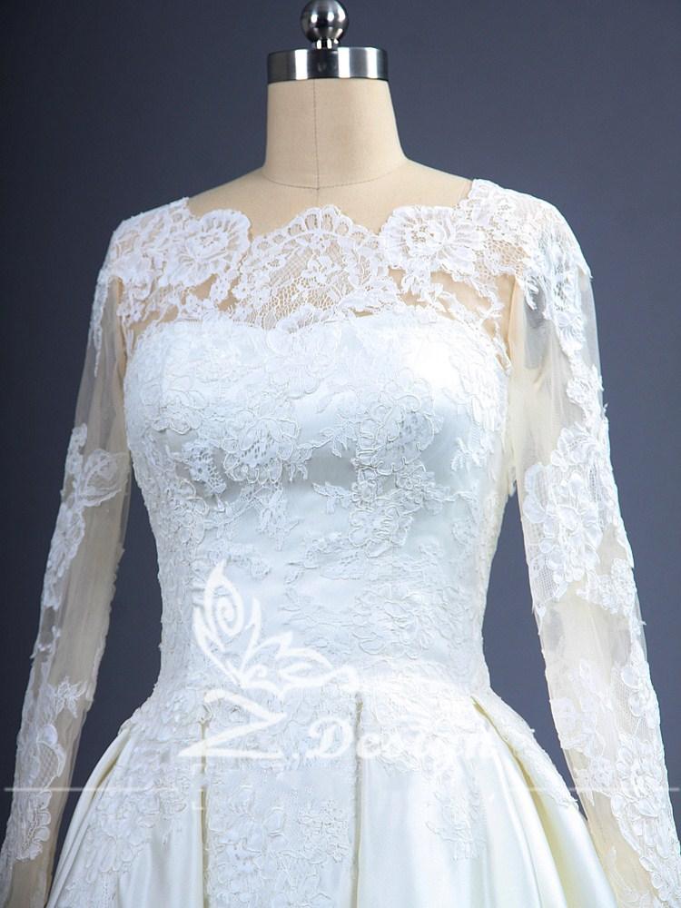 Raso di Applique Lungo Bianco Avorio Una Linea di Scoop Collo di Lunghezza Del Pavimento Abito da Sposa Abiti da Sposa Più Il Formato Zip