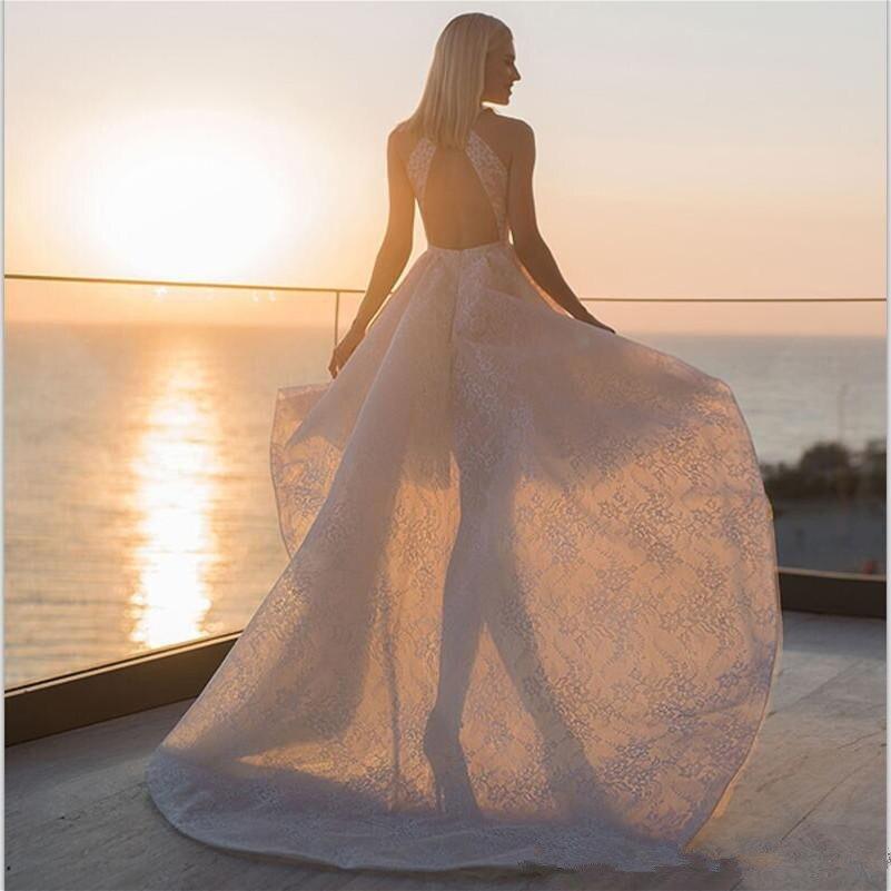 Alto Basso 2020 Abiti Da Sposa Abiti Da Sposa In Pizzo Appliqued Hi_Lo Garden Beach Abito Da Sposa vestido de novia