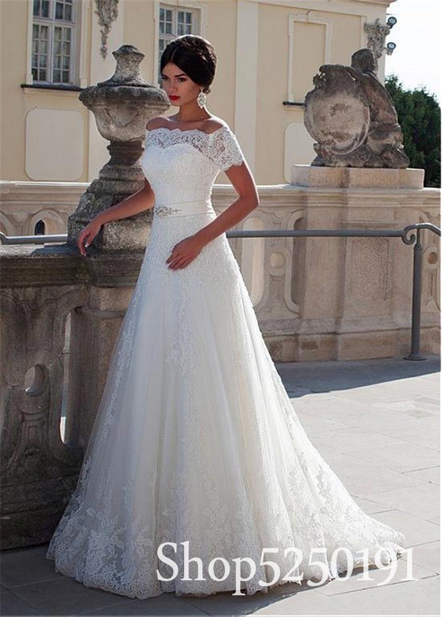 2019 New White Con Scollo A Barchetta Cryatal Fiocchi e Fasce Applique Abito Da Sposa In Pizzo Manica Corta abito da sposa Abiti Da Sposa