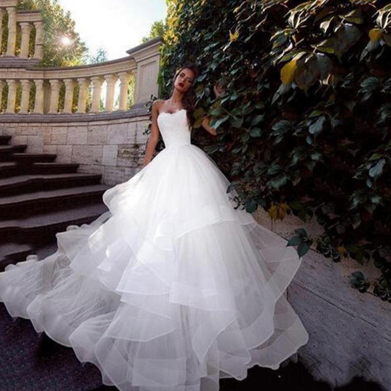 Vestido da sposa abiti da sposa Bianco Abiti Da Sposa di Tulle Del Corsetto Lace-Up Torna Semplice Abito di Sfera abiti da sposa Abiti Da Sposa di trasporto trasporto libero
