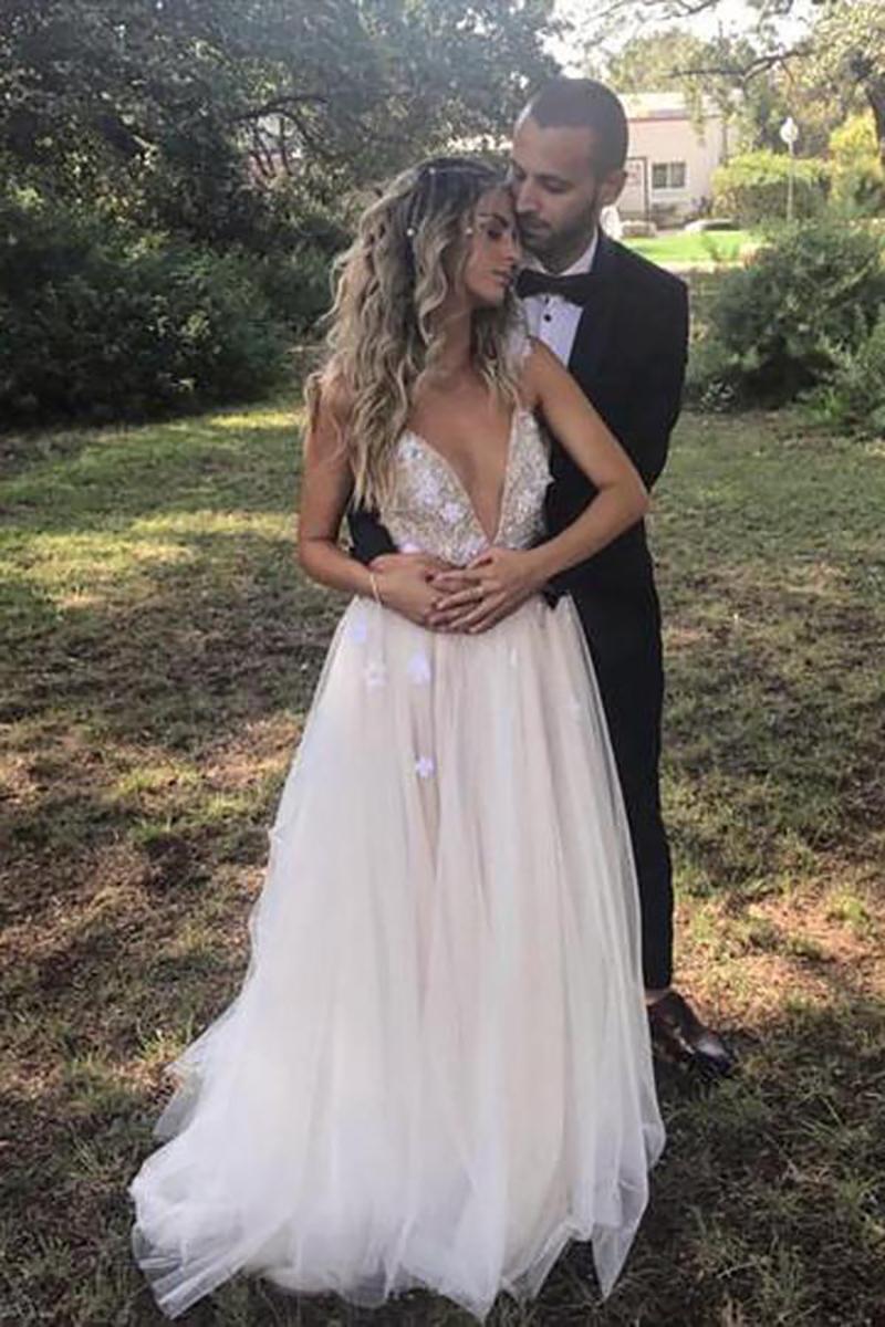 Fiori Abito Da Sposa Bianco Vestido de noiva 2019 sukienka na wesele Profondo Scollo A V Con Appliques Delicate Backless Abito Da Sposa