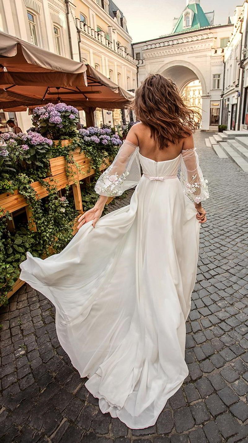 LORIE Della Principessa Vestito Da Cerimonia Nuziale Dell'innamorato Appliqued Puff Maniche Vestito Da Sposa A-Line Backless Boho Abito Da Sposa