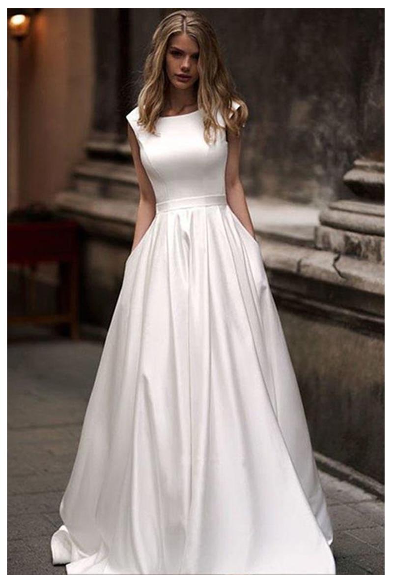 Lorie Abiti Da Sposa Con Tasca 2019 Vestido da sposa abiti da sposa In Raso Bianco Senza Maniche Abiti Da Sposa di Lunghezza Del Pavimento Abito Da Sposa