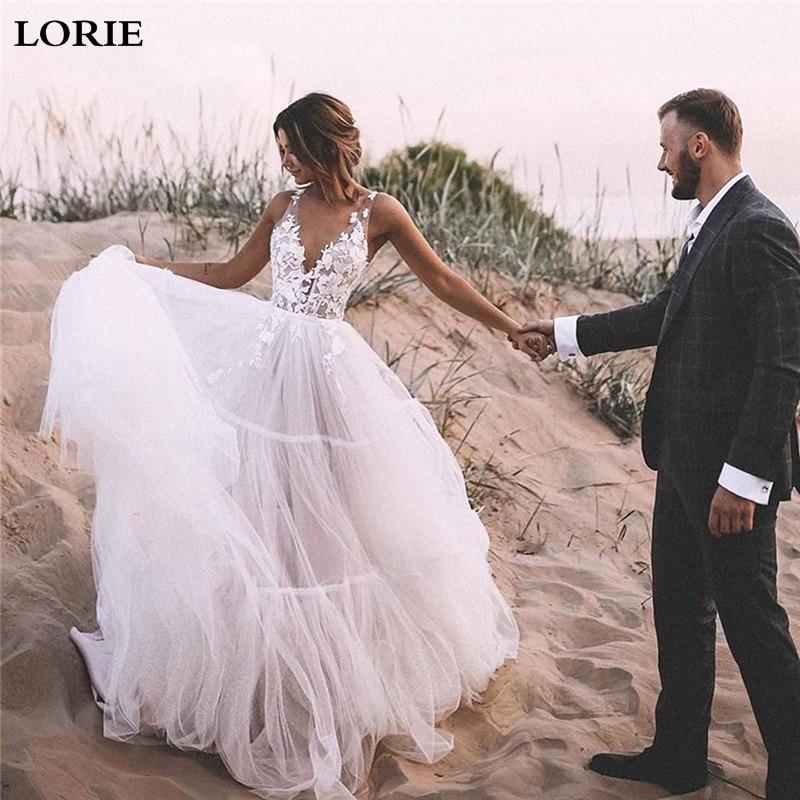 LORIE Boho Abiti Da Sposa Soffio Una Linea Lungo Backless Spiaggia Abito Da Sposa Appliques Del Merletto Top Abito Da Sposa 2019 vestido de noiva