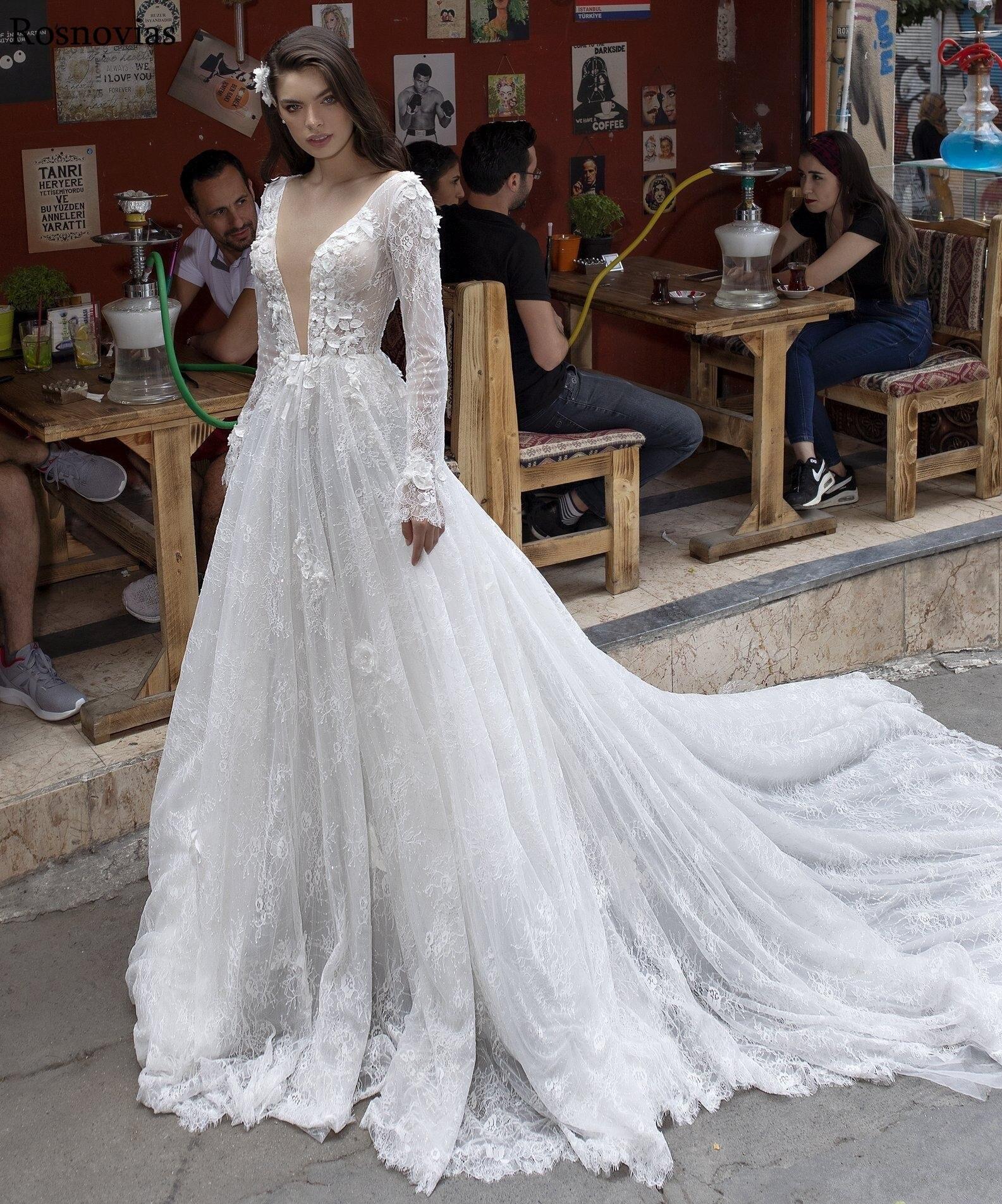 Lace Maniche Lunghe Abiti Da Sposa 2019 Profondo Scollo A V Backless Sweep Treno Perline Modest Vestido Da Sposa Abiti Da Sposa di Lusso Da Sposa Abiti Da Sposa custom