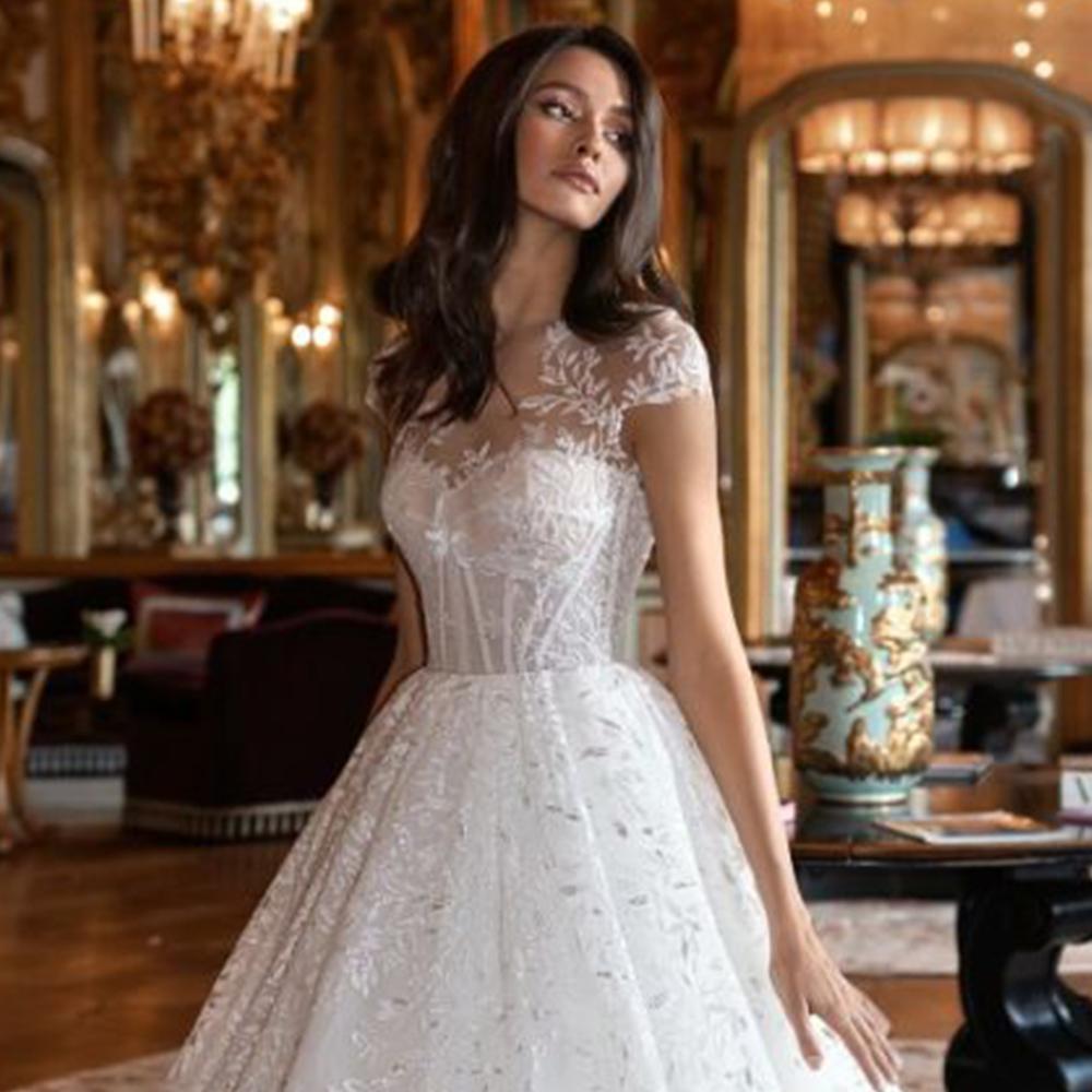 Hochzeitskleid Abiti Da Sposa 2019 Del Manicotto Della Protezione Avorio Tulle di Lusso Vestido de Novia Appliques Vintage Robe de Mariage Abito Da Sposa