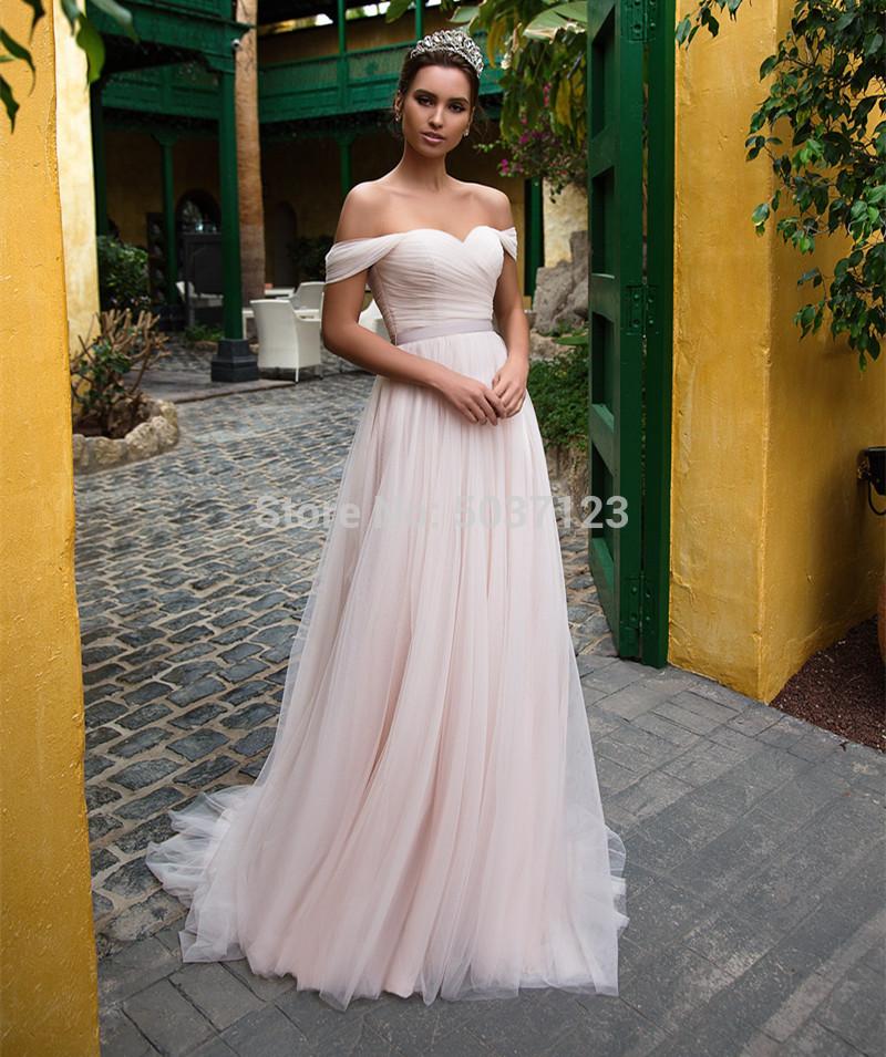 Rosa di Tulle Abiti da Sposa 2020 Al Largo Della Spalla Sweetheart Senza Maniche Lace Up Sweep Treno da Sposa Abiti da Sposa Vestido De Noiva