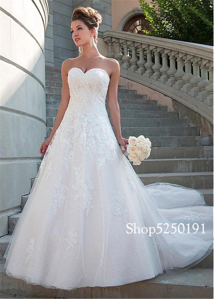 Romantico Pizzo Scollo a cuore Una Linea di Abito Da Sposa Senza Spalline Cristalli Da Sposa Abiti Da Sposa robe de mariee princesse de luxe