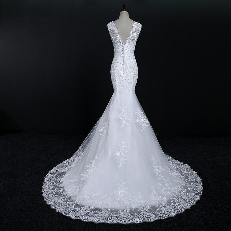 Fansmile New abiti Da Sposa Del Merletto Del Ricamo Della Sirena Abito Da Sposa 2020 Abiti Da Sposa Più Il Formato Su Misura FSM-569M