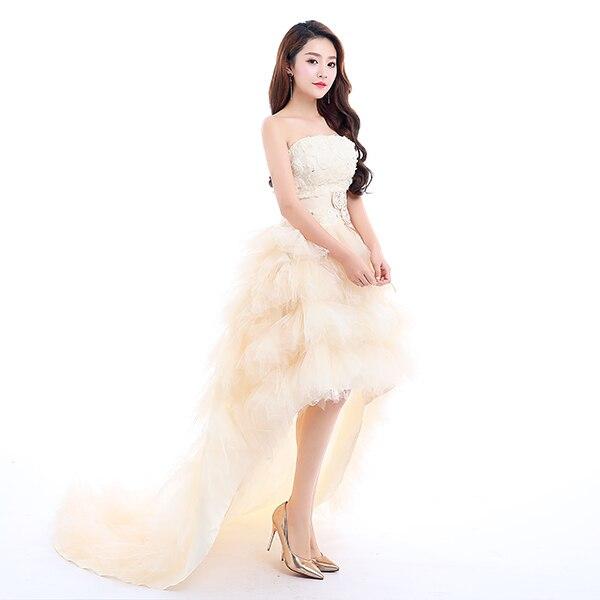 Ladybeauty 2019 A Basso prezzo la sposa reale principessa abito da sposa corto del treno del vestito convenzionale di disegno del bicchierino da sposa growns