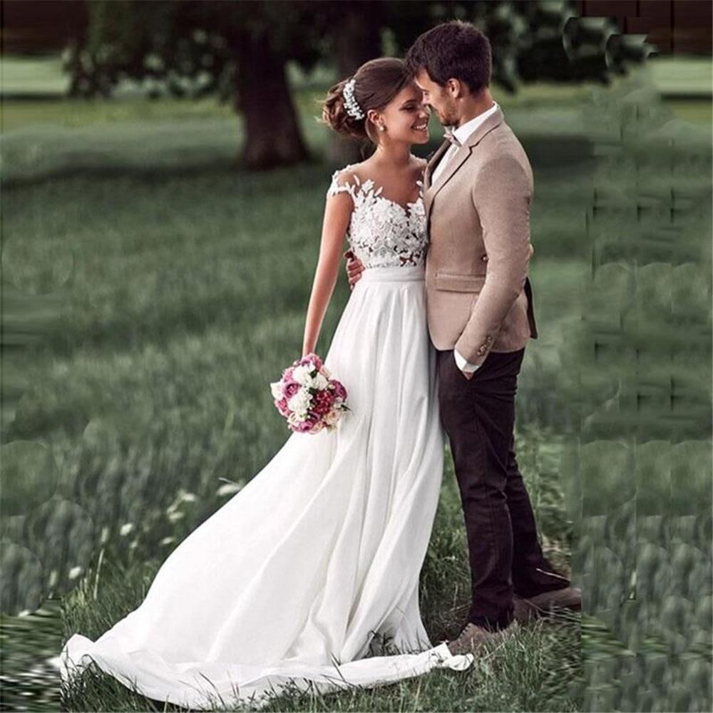 Sodigne Spiaggia Del Merletto di Appliques Vestito da Sposa Nuovo Cap-Maniche con Lo Spacco Laterale Abiti da Sposa Bianco 2020 Boho Abito da Sposa Vestido de Noiva