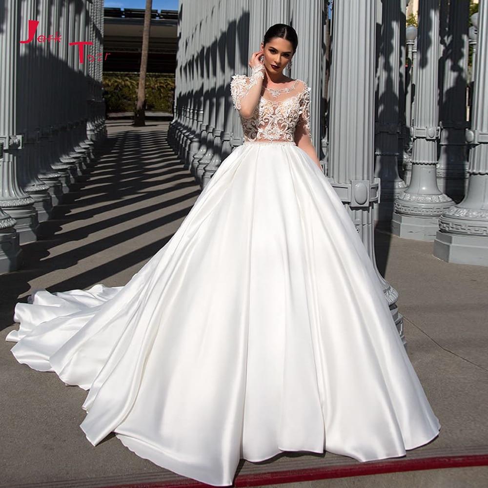 Splendida Best Francia Raso Abito di Sfera Abito da Sposa Abiti da Sposa di Cristallo Pieno Bordare Fiori a Manica Lunga Sexy Abiti da Sposa