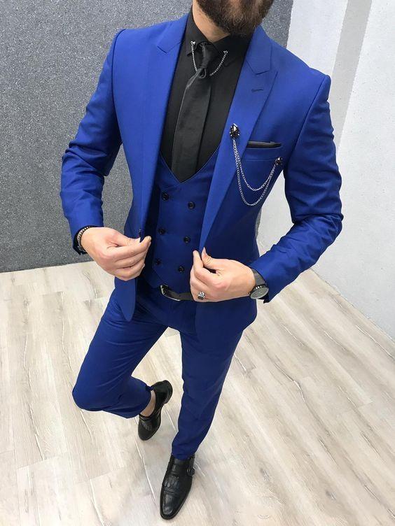 2020 Tre Pezzi Royal Blue Abiti Da Uomo Ha Raggiunto Il Picco Risvolto Smoking Da Sposa Su misura Slim Fit Abiti Maschili (Jacket + pantaloni + Vest + Tie)