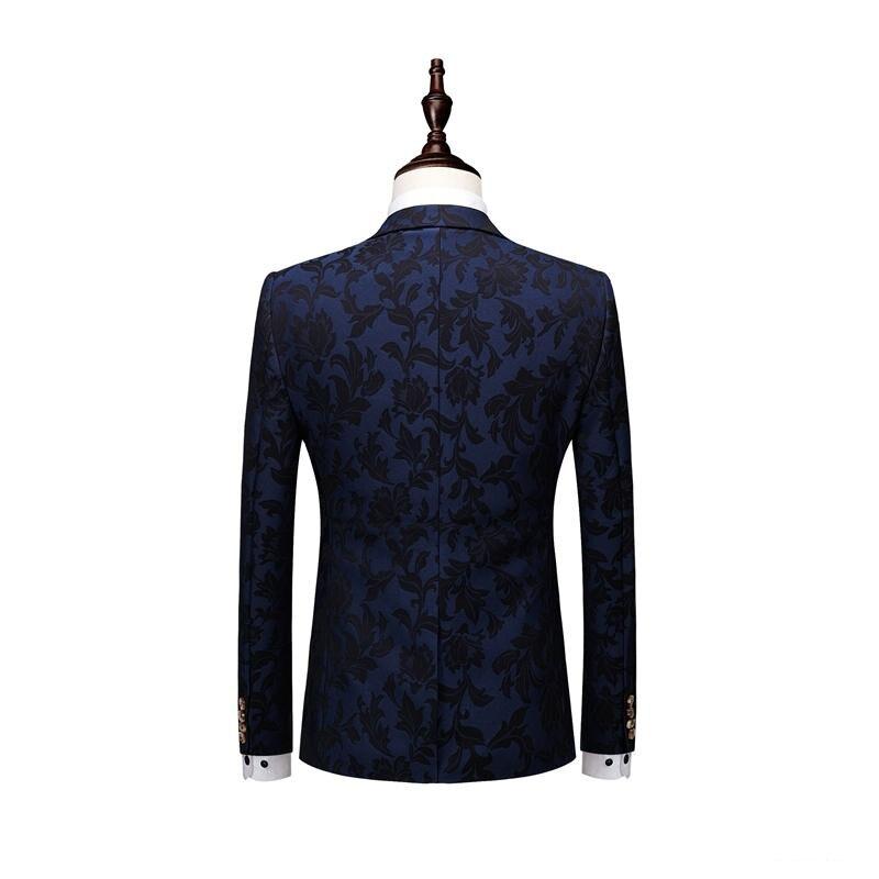 Abiti da uomo Con Stampa di Marca Blu Navy Mens Floreale Blazer Designs Mens Paisley Blazer Slim Fit Uomini Giacca del Vestito Da Sposa smoking 3 pc