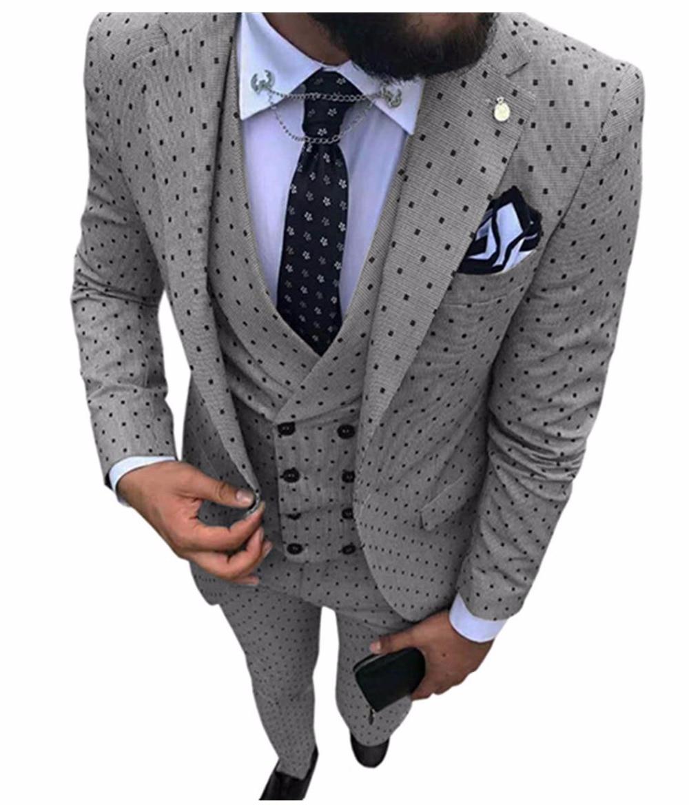Abiti da uomo Onda punto di Tre Pezzi Uomini Vestiti Interi Eleganti Casual Pendolari office business suits Per La Cerimonia Nuziale (Giacca + Vest + pantaloni)