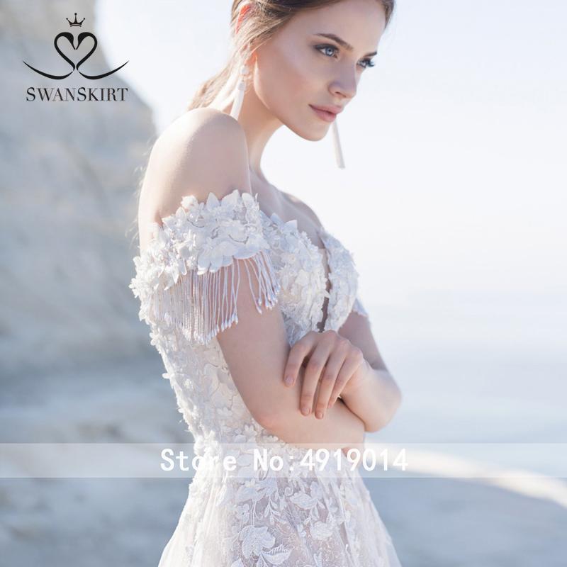 Sweetheart Abito da Sposa 2019 Swanskirt Appliques in Rilievo Off Spalla Una Linea di Pizzo Up Abito da Sposa Della Principessa Vestido De Noiva LZ22
