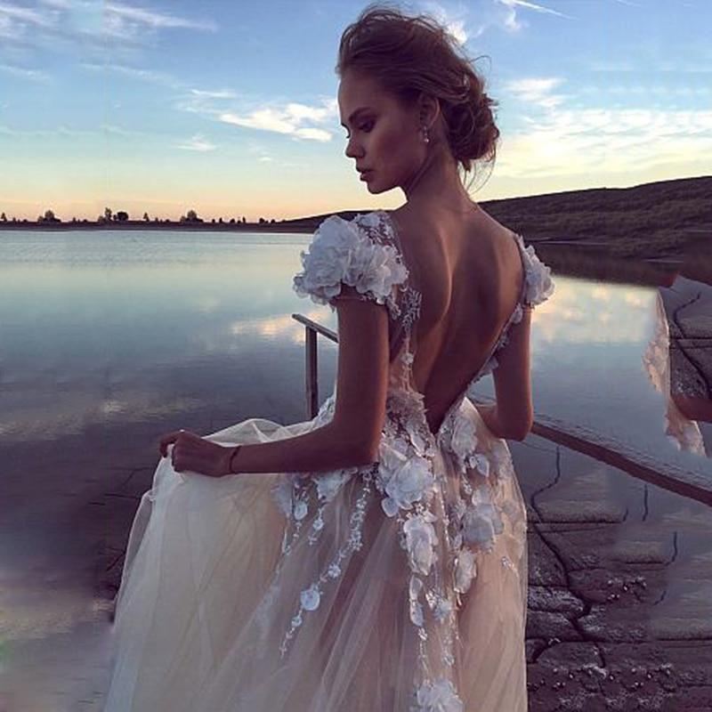Di lusso di Tulle Una Linea di Abiti Da Sposa 2019 Backless Sexy Abito Da Sposa 3D Fiori di Pizzo Fata Spiaggia Fata Spiaggia Abito Da Sposa