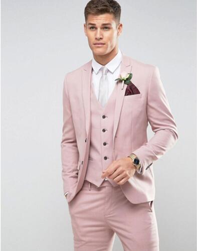 Su misura Uomini di Colore Rosa Abiti da sposa Slim Fit Sposo di Promenade Del Partito Giacca Maschile Tuxedo Jacket + Pants + Vest Costume matrimonio Homme Terno