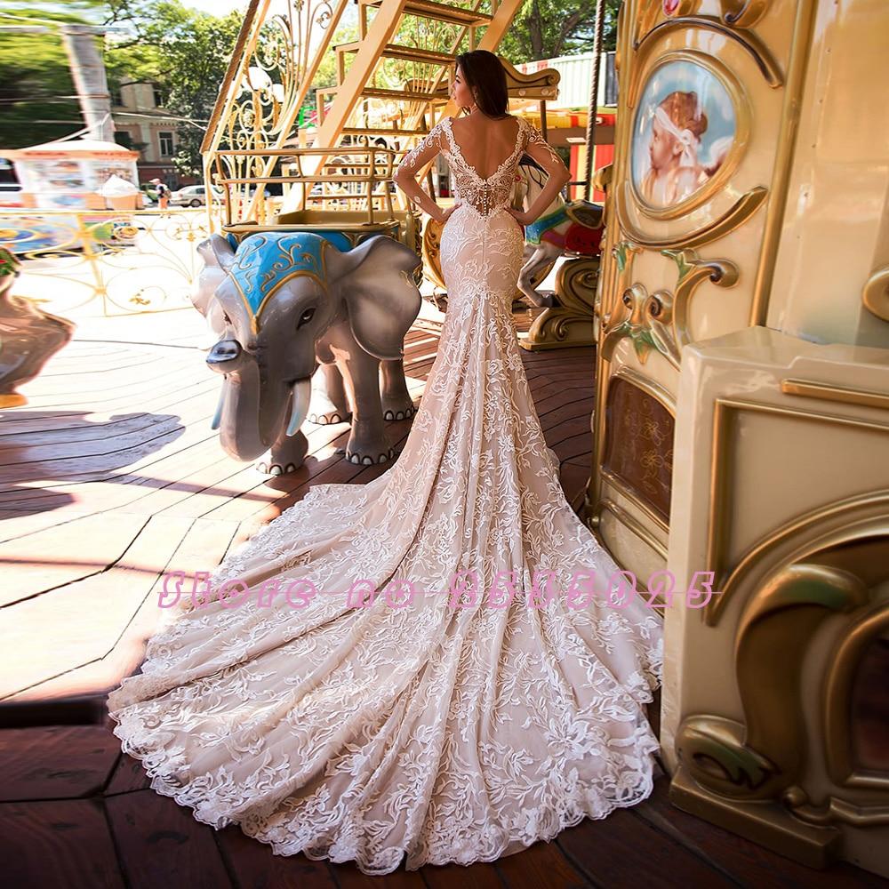 2020 Nuovo Arriva a Manica Lunga Della Sirena Abiti da Sposa Vestido De Noiva Sereia Profondo Scollo a V Backless Perle Sexy Del Merletto Tromba Abiti da