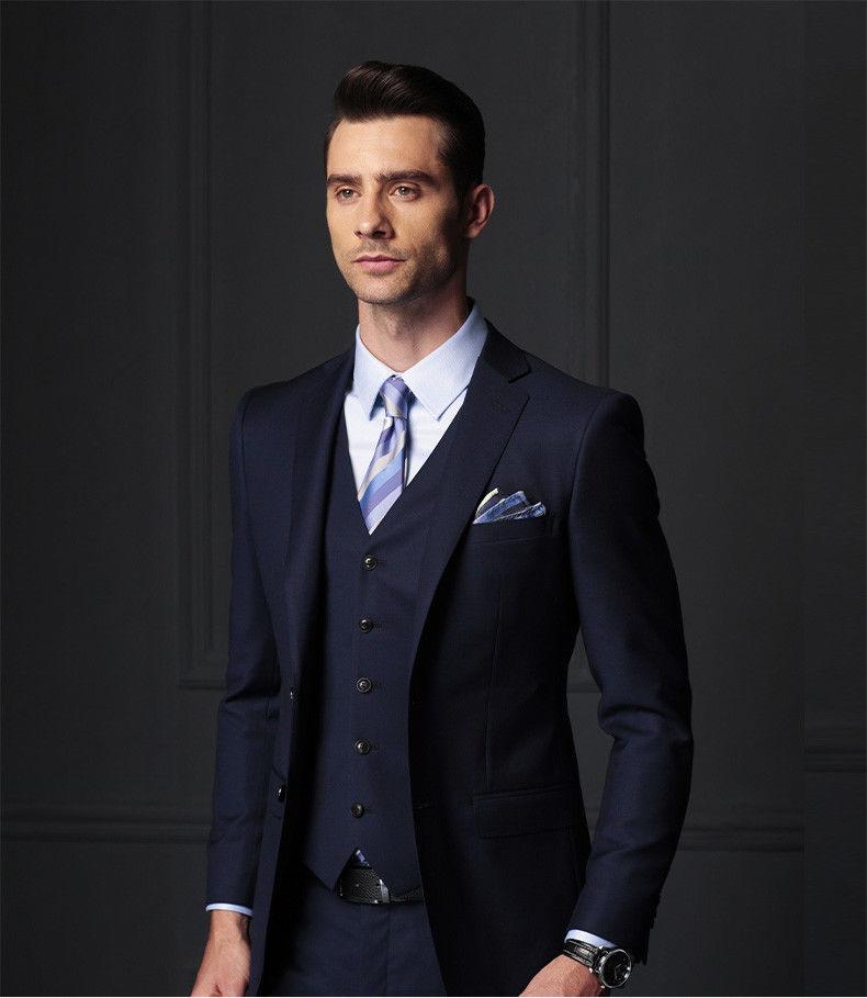3 pcs Degli Uomini di Affari di Modo Vestito Dello Sposo di Cerimonia Nuziale Del Partito di Promenade Tuxedo Supporto Personalizzato