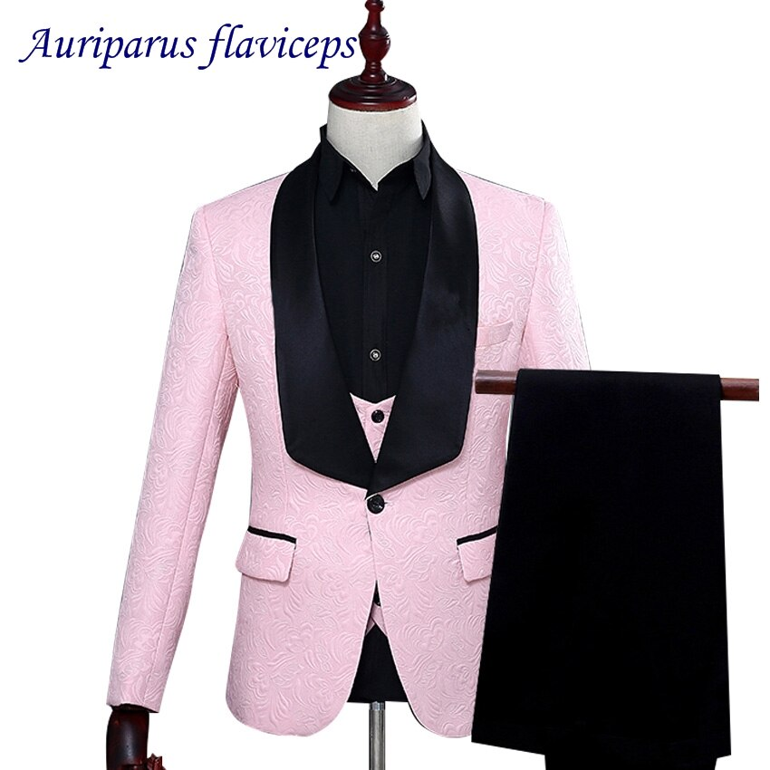 3 colore Smoking Su Misura Groomsman Giacca Con Stampa Floreale del Vestito Uomo Vestito Dello Sposo Strutturato Cena Vestito Da Cerimonia Nuziale del Vestito (Giacca + pantaloni + vest)