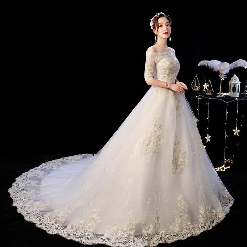 Abito da Sposa 2020 Mrs Vincere Il Scollo a Barca Elegante Sweep Treno Principessa Abiti da Sposa Champagne Del Merletto Plus Size Abiti da Sposa F
