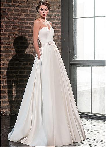 Elegante Sweetheart Satin Abito da Sposa con Giacca a Maniche Lunghe di Lunghezza Del Pavimento Abiti da Sposa Tasche Robe De Mariage