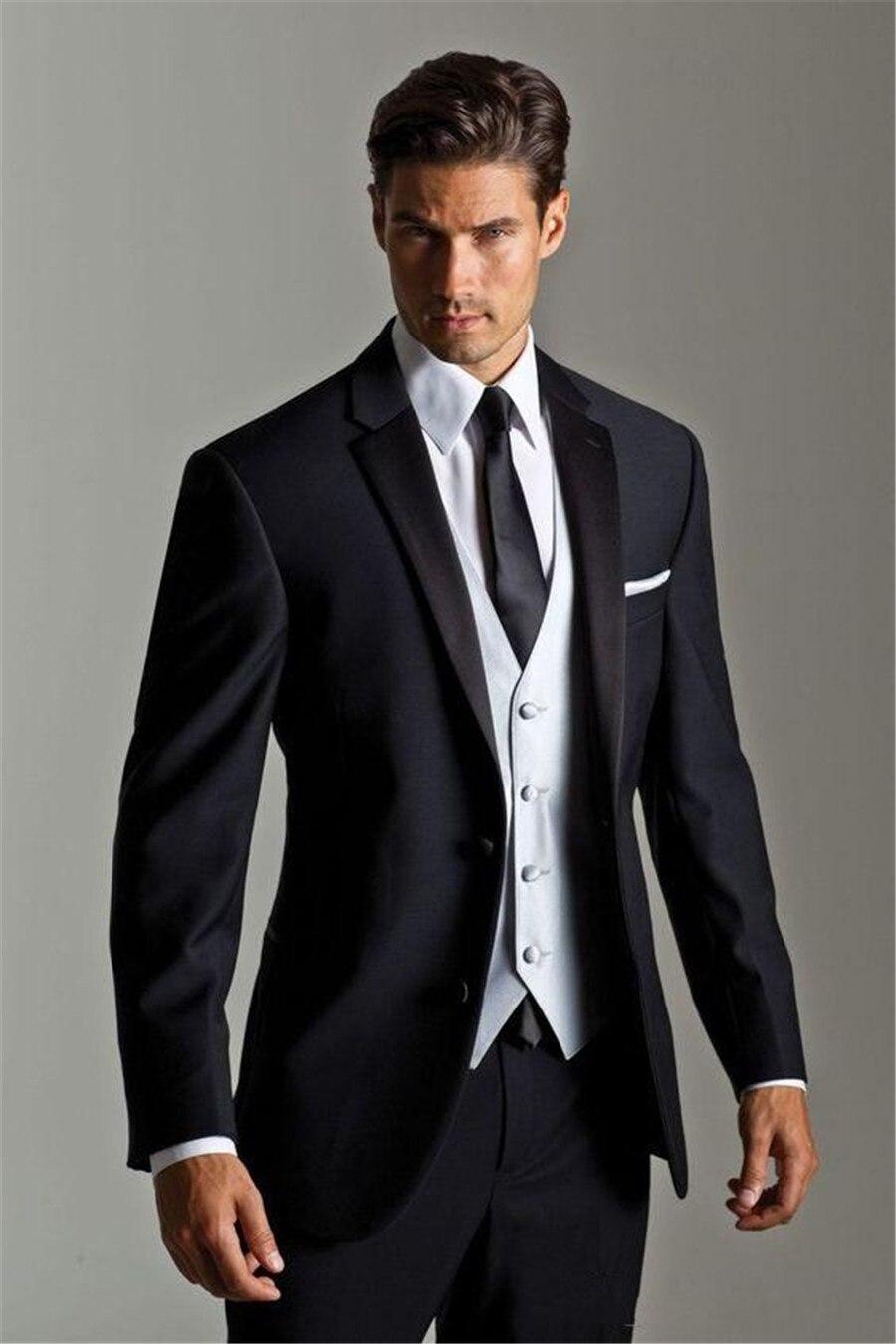 Bello Blu Navy Mens Personalizzato Abiti Da Sposa Due Bottoni Slim Fit Sposi Smoking Tre Pezzi Vestito Convenzionale (Jacket + pantaloni + Vest)