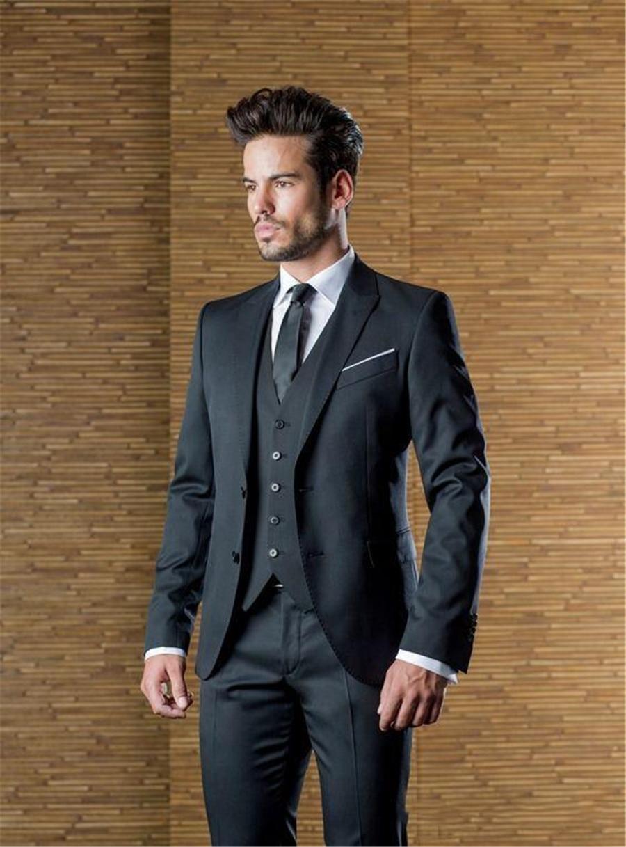 Bello del Carbone di legna Personalizzato Mens Abiti Da Sposa Ha Raggiunto Il Picco Risvolto Slim Fit Sposi Smoking Tre Pezzi Giacca e Cravatta (Jacket + Pants + Vest)