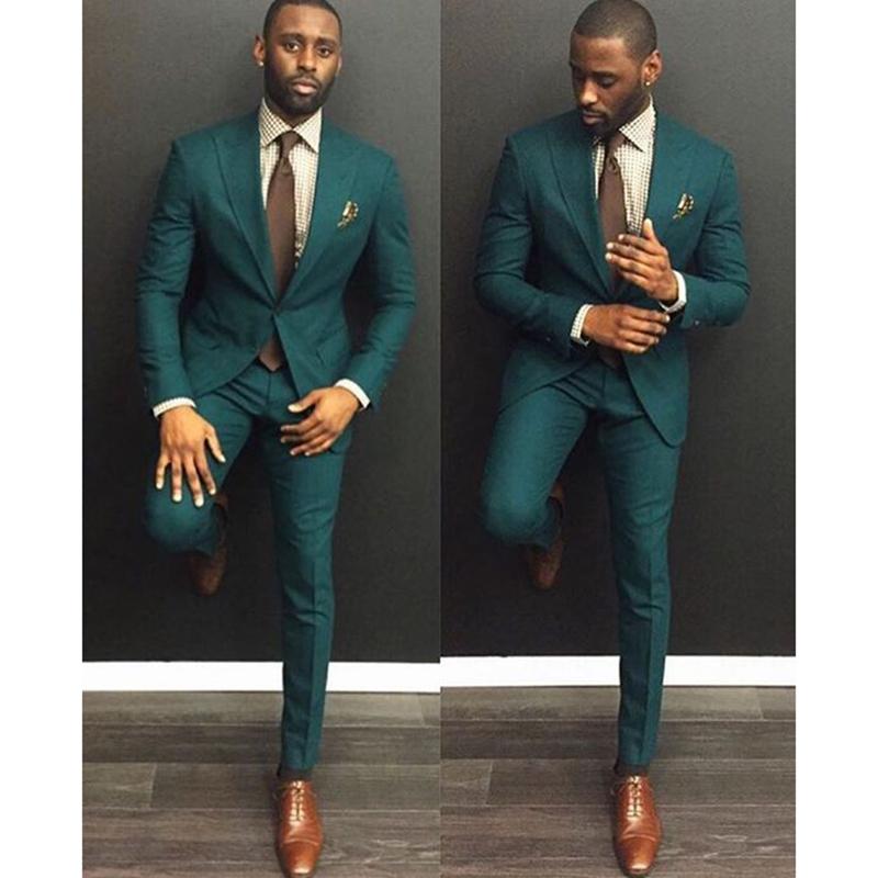 2020 su un pulsante verde degli uomini vestito dello sposo di cerimonia nuziale del partito del vestito 2 pezzi (coat + pants + tie)