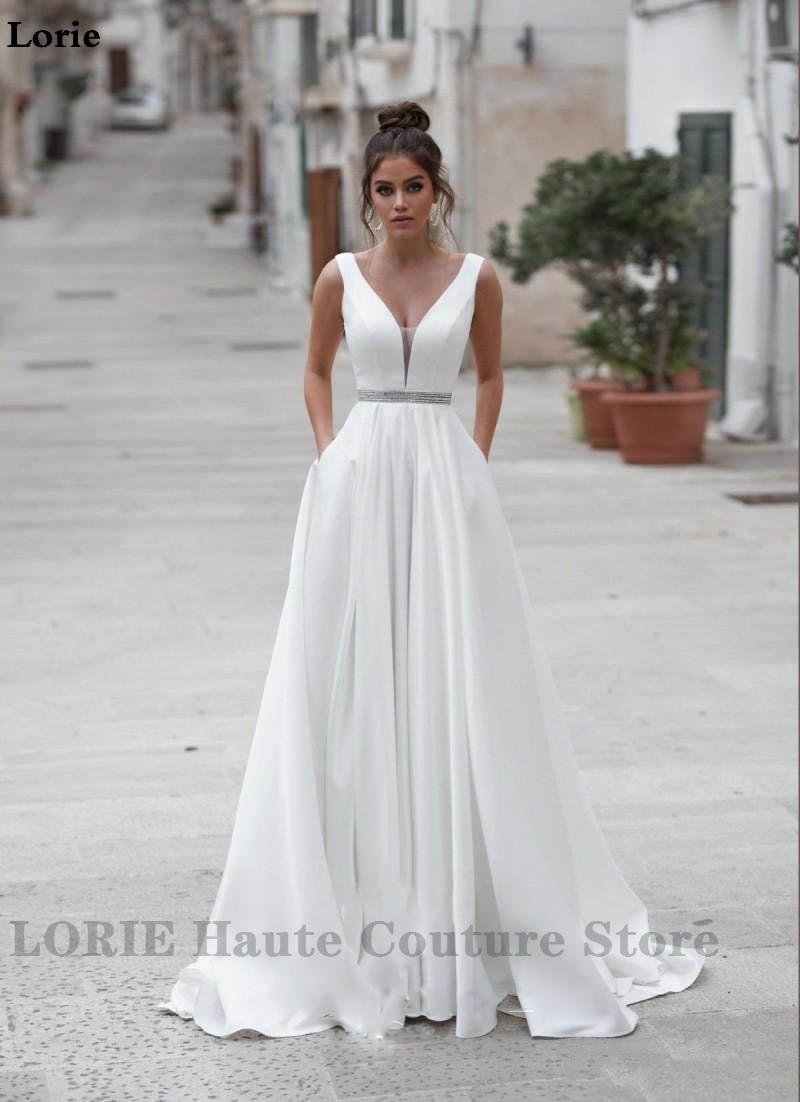 Lorie Raso Abiti da Sposa con Scollo a V Abiti da Sposa Bottoni Vestido De Novia Boho Elegante Abito da Sposa per Le Donne su Ordine