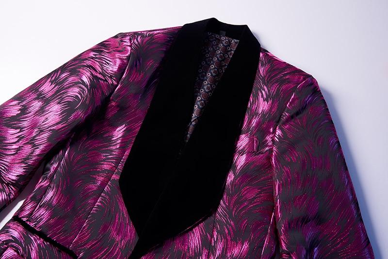 Mens di Modo Grande Scialle Risvolto 3 Pezzi Set Rosa Rosso Blu Bianco Nero Da Sposa Abiti Sposo Qualità Jacquard Banchetto Tuxedo