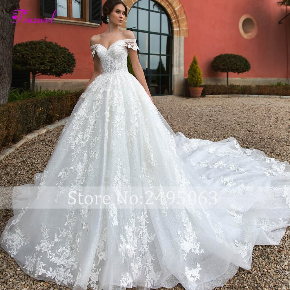 Fsuzwel Barca Sexy Del Collo Del Merletto Up Royal Train A-Line Abito Da Sposa 2019 Di Lusso In Rilievo Appliques Principessa Abito Da Sposa Robe De mariage