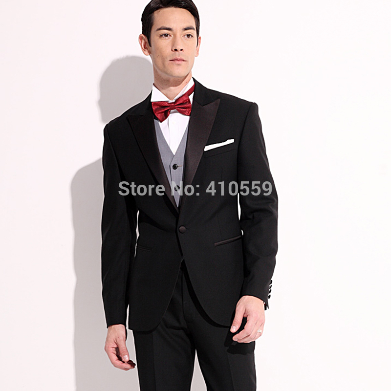 Uomini Su Misura Made Nero Set Abbigliamento Vestito di abito Da Sposa Classico Smoking Usura Sposo Giacca Con Pantaloni (Giacca + bowtie + Pant)