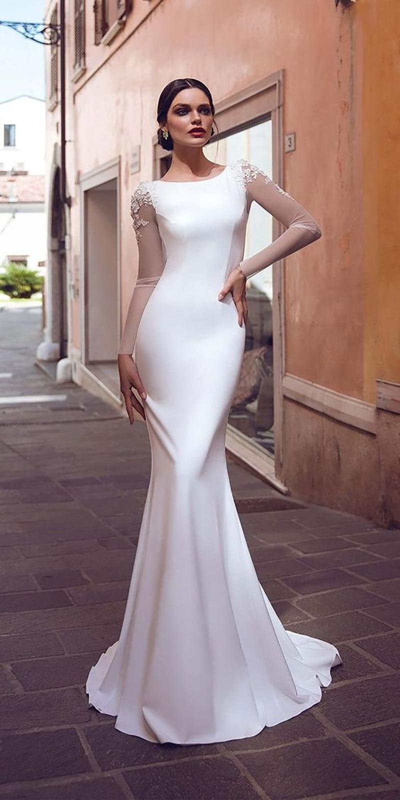 Verngo Della Sirena Abito da Sposa di Boho Del Merletto Appliques Abiti da Sposa 2020 Abiti da Sposa Semplici Stain Abiti da Sposa