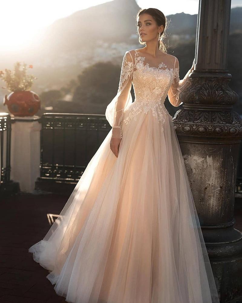 Verngo A-Line Abito Da Sposa Rosa Chiaro Abiti Da Sposa Elegante Abito Da Sposa Con Maniche Lunghe Abiti Da Noiva