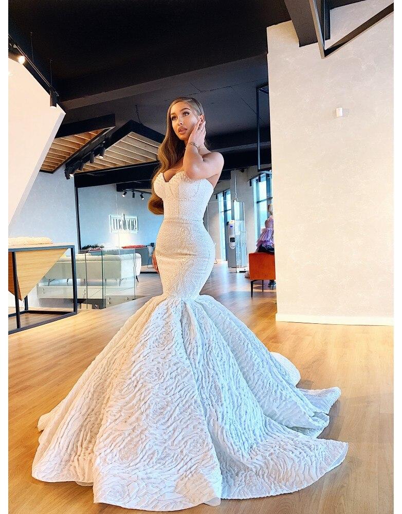 2020 Mermaid Abiti Da Sposa In Rilievo Senza Bretelle di Applique Del Merletto Sexy Abiti Da Sposa di Lunghezza Del Pavimento Custom Made Robe De Mariee