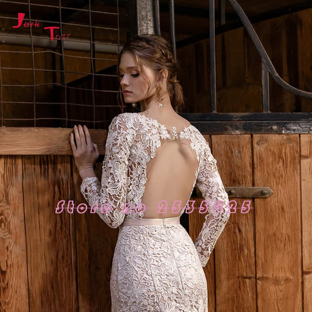 2020 Nuovi Arrivi Sirena Abiti da Sposa Manica Lunga Vestido De Noiva Sereia Aperto Indietro Vedere Attraverso Sexy Abiti da Sposa in Pizzo