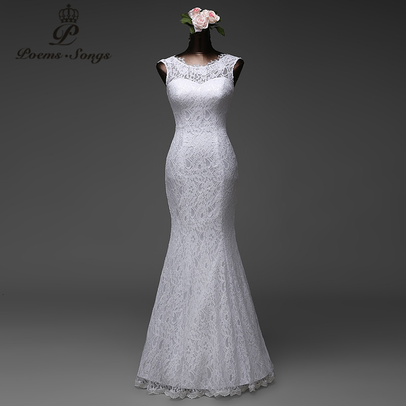 Poemssongs su ordine di alta qualità abito da sposa mermaid con staccabile tulle del treno vestido de noivas