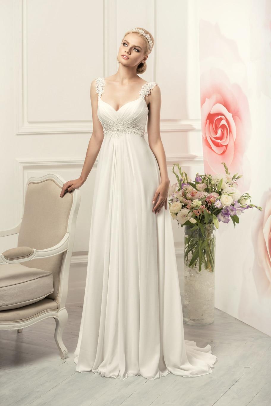 Semplice Senza Spalline in Chiffon Abiti da Sposa Elegante Della Boemia Empire Abito da Sposa Bianco/Avorio Vestido De Novia 2019