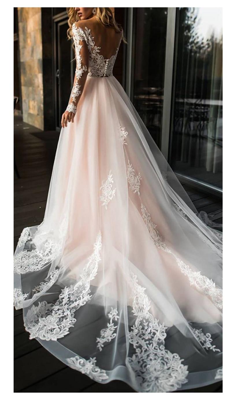 Elegante Abito Da Sposa In Pizzo abiti da sposa 2019 Semplice Una Linea di Abiti Da Sposa Con Scollo A V Sexy di Lunghezza Del Pavimento Romantico Abiti Da Sposa